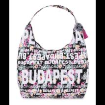Női táska Budapest feliratos, virágos Csilla-A