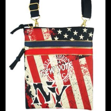 Útlevéltáska unisex New York feliratos és USA zászló mintás John NY-Z