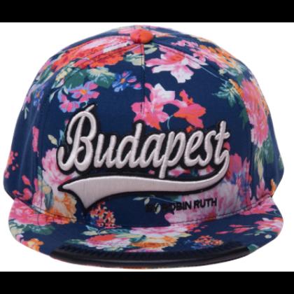 Női baseball sapka Budapest feliratos színes, virágos Lilla-A