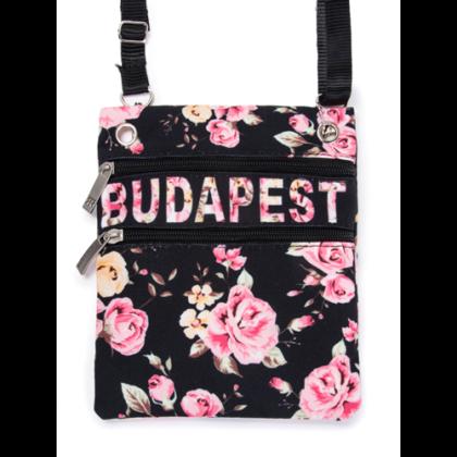 Női útlevél táska Budapest feliratos, virágos Virág-A