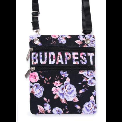 Útlevél táska női Budapest feliratos, virágos Virág-B