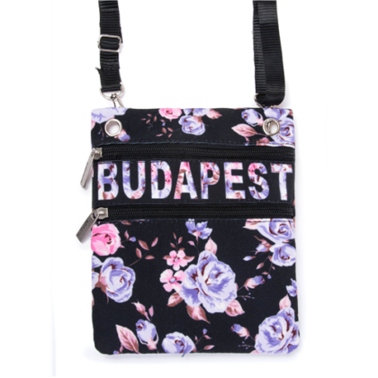 Útlevéltáska női Budapest feliratos, virágos Virág-B
