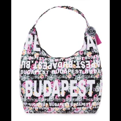 Válltáska női Budapest feliratos, virágos Csilla-A