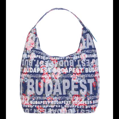 Válltáska női Budapest feliratos, virágos Csilla-E