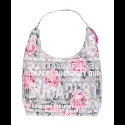 Női táska Budapest feliratos, virágos Csilla-F
