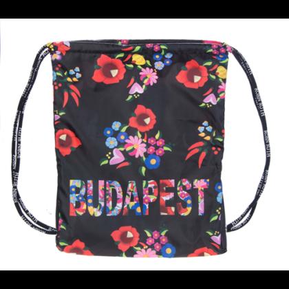 Női tornazsák Budapest feliratos, kalocsai mintás Szilvia-A