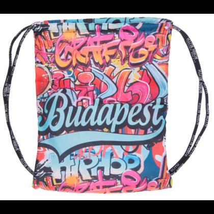 Férfi tornazsák Budapest feliratos, graffiti mintás Viktor-A