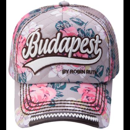 Női baseball sapka Budapest feliratos színes, virágos Lilla-G