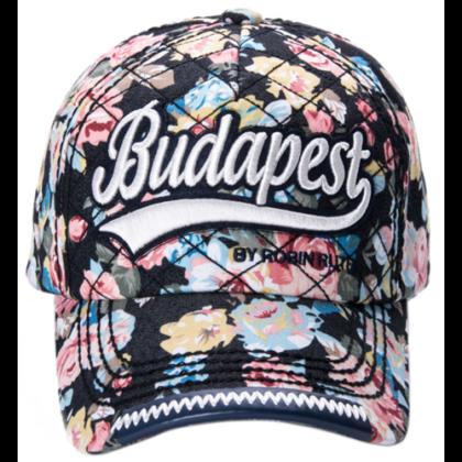 Női baseball sapka Budapest feliratos színes, virágos Lilla-H