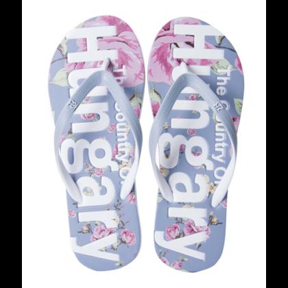 Női strandpapucs Hungary feliratos, virágos Szabina-B