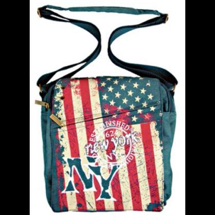 Oldaltáska férfi New York feliratos és USA zászló mintás Alex S-NY-Z