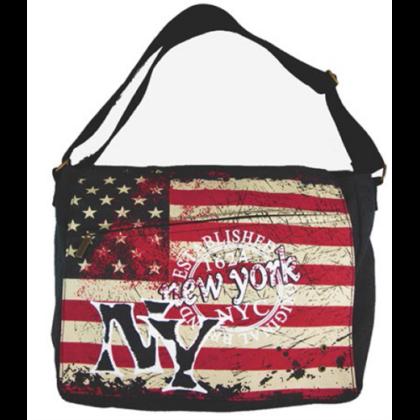 Férfi táska New York feliratos és USA zászló mintás Alex L-NY-Z