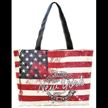 Női táska New York feliratos és USA zászló mintás Bill L-NY-A