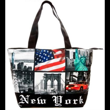 Válltáska női New York feliratos és fényképes Ole L-NY-Q