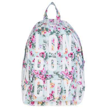 Női hátizsák London feliratos és virágos Finn L-A Flower